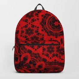 Vibrant red and black wattle mandala Backpack