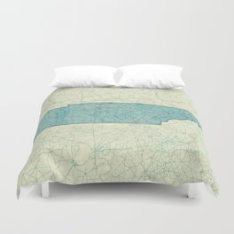 Tennessee State Map Blue Vintage Duvet Cover