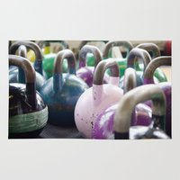 crossfit Area & Throw Rugs featuring Kettlebell Gang by StirlingStudio