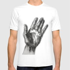 hand drawing hand MEDIUM White Mens Fitted Tee