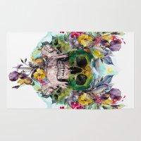 skulls Area & Throw Rugs featuring SKULLS by RIZA PEKER