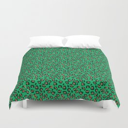 Greenery Green and Beige Leopard Spotted Animal Print Pattern Duvet Cover