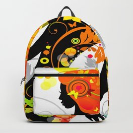 Autumn decorative composition with girl Backpack