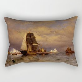 Looking out of Battle Harbor by William Bradford - Hudson River School Vintage Painting Rectangular Pillow