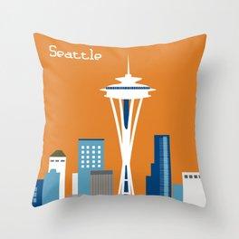 Seattle, Washington - Skyline Illustration by Loose Petals Throw Pillow
