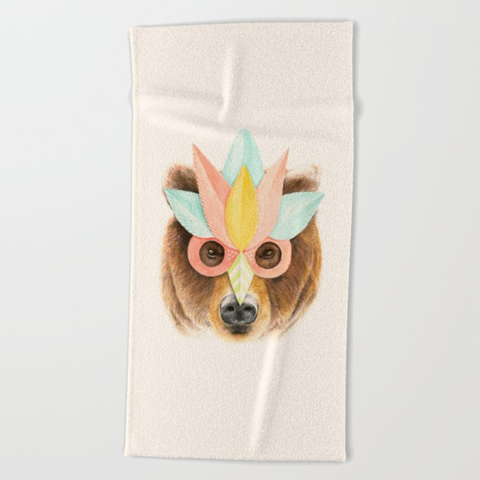 The Bear with the Paper Mask Beach Towel