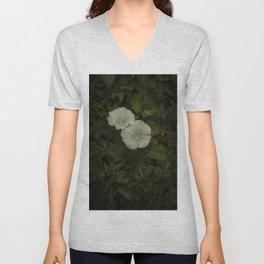 White wild flowers Unisex V-Neck