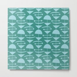 Retro Mid Century Modern Abstract Mobile 675 Teal and Blue Metal Print