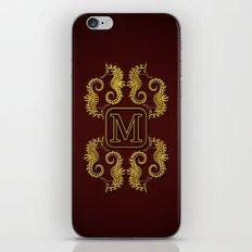 Letter M seahorse monogram iPhone & iPod Skin