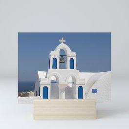 Santorin Colors - Blue & White Mini Art Print