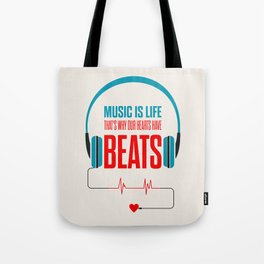 Lab No. 4 - Music Is Life.. That's Why Our Hearts Have Beats Motivational Quotes Poster Tote Bag