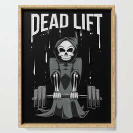 Grim Reaper lifting dumbbell Serving Tray