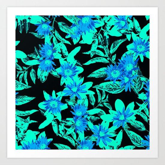 Bright Blue Vintage Blooms Art Print