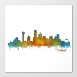 Dallas Texas City Skyline watercolor v02 Canvas Print