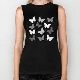 Monochrome Butterflies Biker Tank