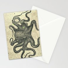 Black Brown Vintage Nautical Steampunk Octopus Stationery Cards