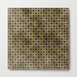 Circle Rings in Black and Gold Vintage Faux Foil Art Deco Vintage Foil Pattern Metal Print