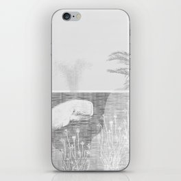 Tropical Black and White Vintage Whale Design iPhone Skin