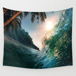 Photography - Beach - Waves - Palm Trees - Ocean  Wall Tapestry