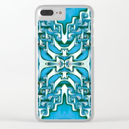 Blue and White Spiral Bends Clear iPhone Case