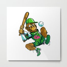 Baseball Monkey - Lime Metal Print