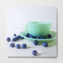 Retro Breakfast - Jadite and Blueberries Metal Print