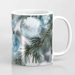 Blue Christmas baubles on tree Coffee Mug