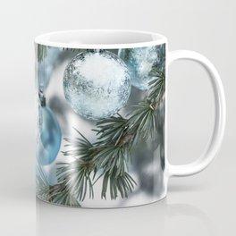 Blue Christmas baubles on tree Coffee Mug