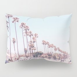California Sidewalks // Blue Ocean Skyline Roadside Palm Trees Tropical Hollywood Paradise Pillow Sham