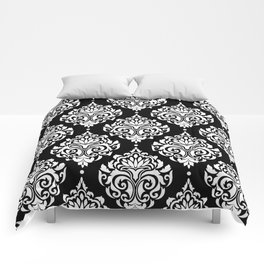 Black Monochrome Damask Pattern Comforters