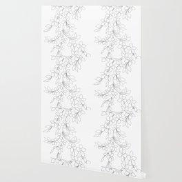 Minimal Wild Roses Line Art Wallpaper