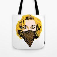 gangster Tote Bags featuring Gangster Lady by UrbanCandy