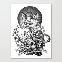 satan Canvas Prints featuring Satan cat by Yulia Hochulia