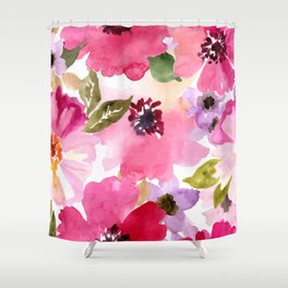 Watercolor Flowers Pink Fuchsia Shower Curtain