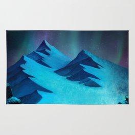 Aurora Borealis In The Mountain Pass Rug
