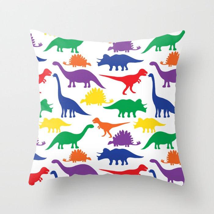 Dinosaurs - White Throw Pillow