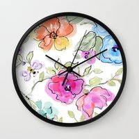 bees Wall Clocks featuring bees by Ariadne