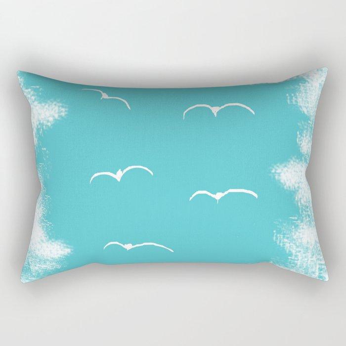 Seabirds and Clouds Rectangular Pillow