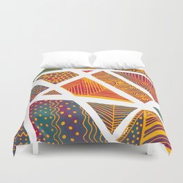 Geometric doodle pattern - multicolor Duvet Cover