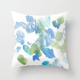 180714 Abstract 16 Blue Green Watercolour | Watercolor Brush Strokes Throw Pillow