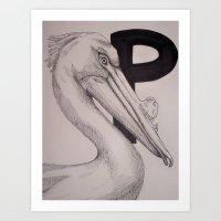 P is for Pelican Art Print