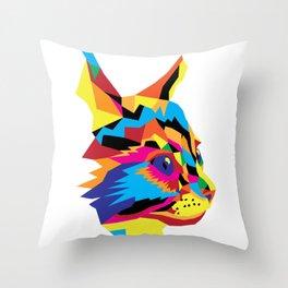 Geomtric Colourful Kitten Digitally Created Throw Pillow