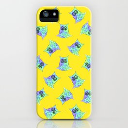 Topsy Turvy Owls Yellow iPhone Case