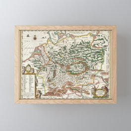 Vintage Map of Germany and Forests, 1657 Framed Mini Art Print