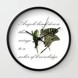 Angels Bend Down Their Wings To A Seeker Of Knowledge Wall Clock