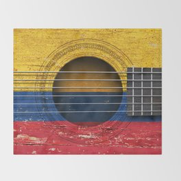 Old Vintage Acoustic Guitar with Colombian Flag Throw Blanket
