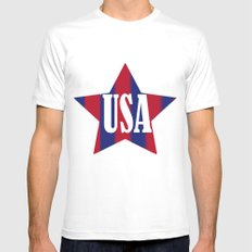USA MEDIUM White Mens Fitted Tee