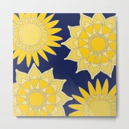 Sunshine yellow navy blue abstract floral mandala Metal Print
