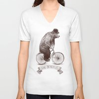 bicycles V-neck T-shirts featuring Bears on Bicycles by Eric Fan
