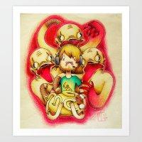 pewdiepie Art Prints featuring Pewdiepie by Kaweki